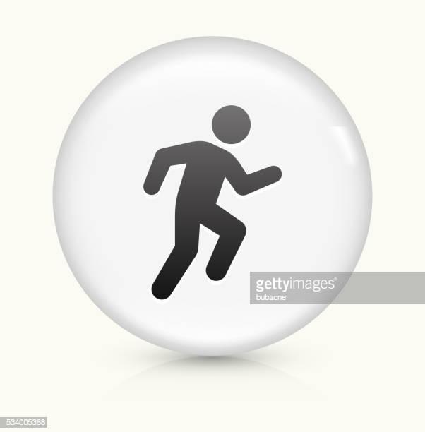stockillustraties, clipart, cartoons en iconen met running icon on white round vector button - military