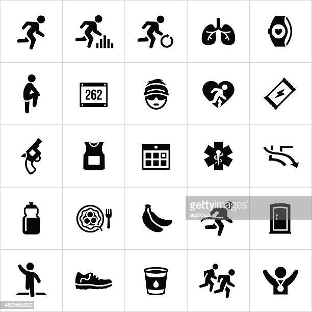 running icons - recreational pursuit stock illustrations, clip art, cartoons, & icons