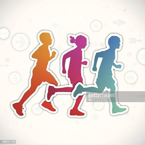 ilustraciones, imágenes clip art, dibujos animados e iconos de stock de los niños corriendo - obesidad infantil