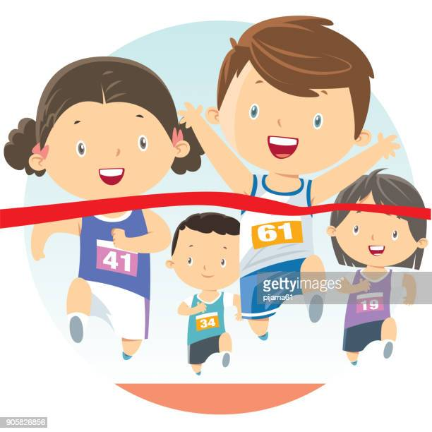 running kids - track and field stock illustrations, clip art, cartoons, & icons