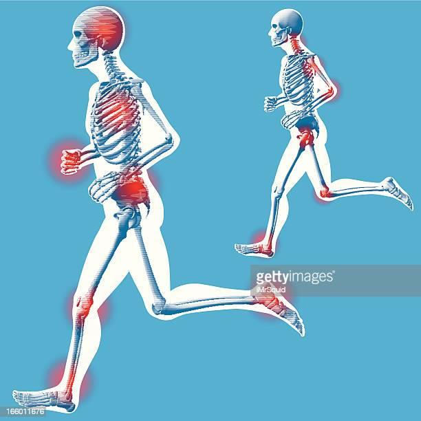 """ilustraciones, imágenes clip art, dibujos animados e iconos de stock de correr """"lado vista"""" a la izquierda - hueso de la pierna"""