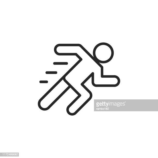 running line icon. editable stroke. pixel perfect. for mobile and web. - running stock illustrations