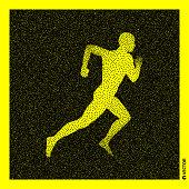Running man. 3D Human Body Model. Black and yellow grainy design. Stippled vector illustration.