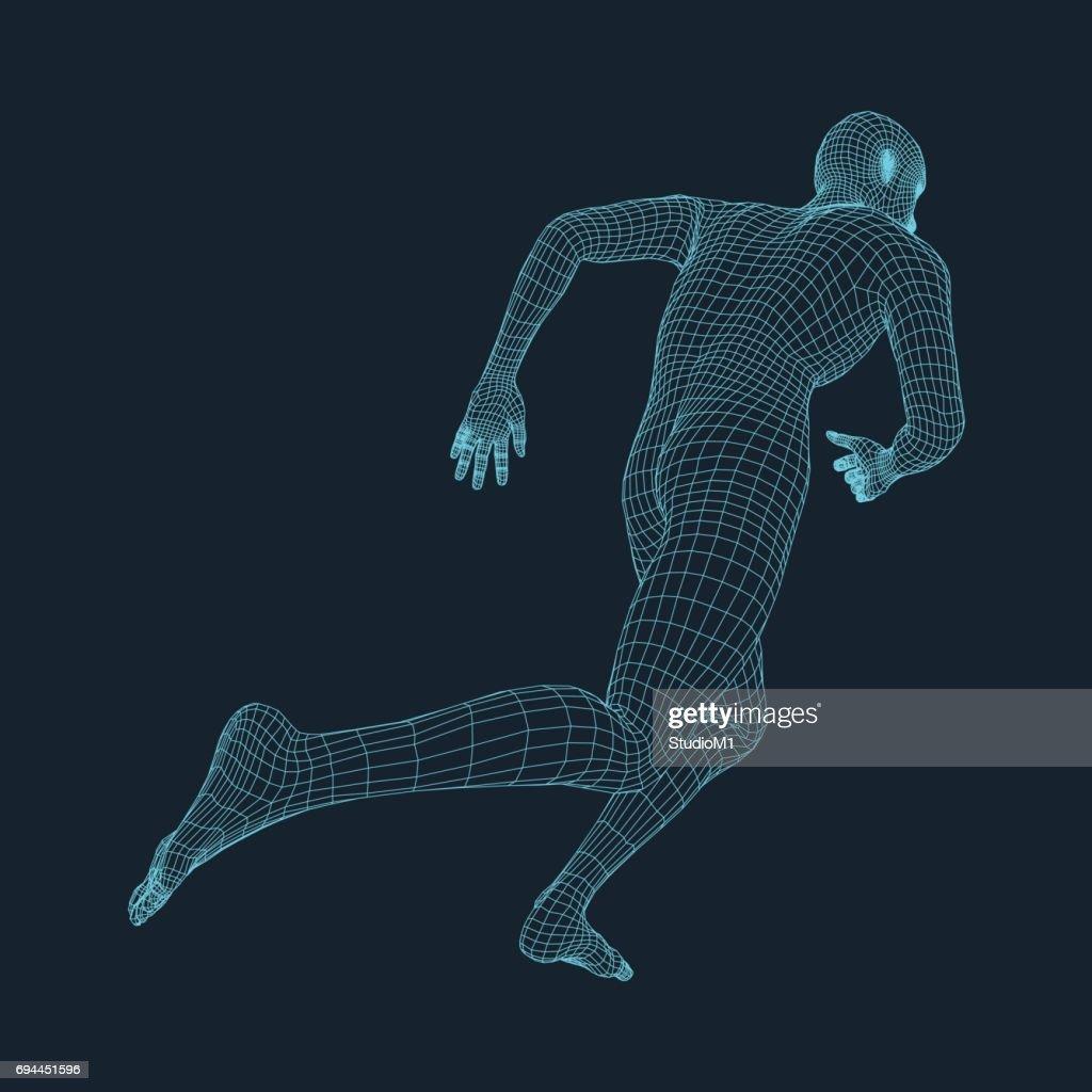 Running Man. 3D Model of Man. Business and Technology Vector illustration.
