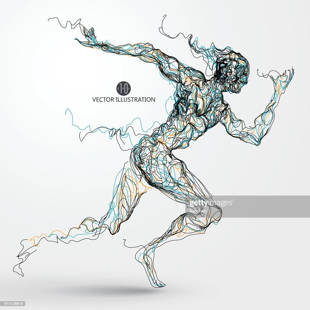 Running man, colored lines drawing, vector illustration.