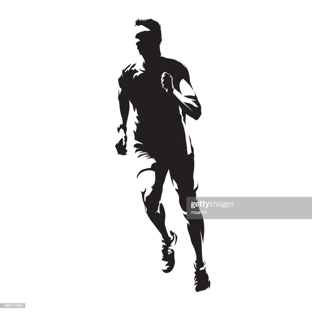 Running man, front view, healthy lifestyle,  isolated vector silhouette. Run, athletics