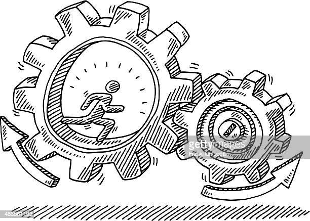 Running Man Gears Motion Drawing