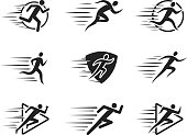 Running Man Icons with Motion Trails