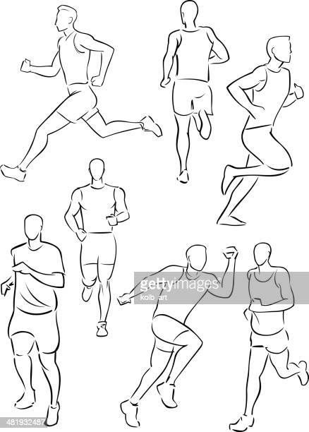 illustrations, cliparts, dessins animés et icônes de running homme jogging - fesses