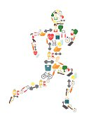 Running man silhouette filled with sport icons. Vector illustration on
