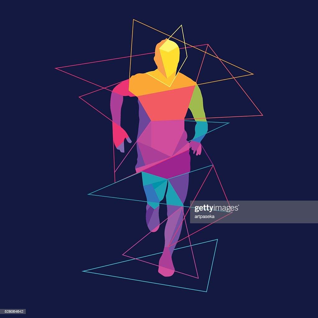 Running man silhouette logo template