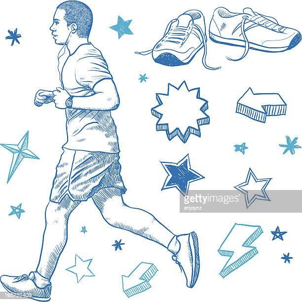 ilustraciones, imágenes clip art, dibujos animados e iconos de stock de hombre corriendo - zapatillas de deporte