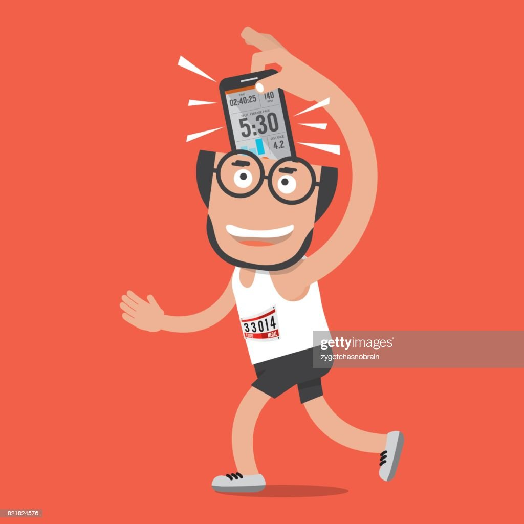 Running Man With Sport Activity Tracking Application Vector Illustration