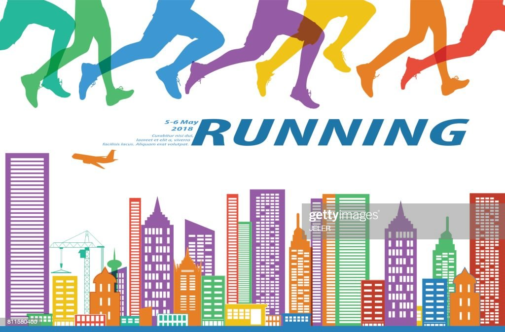 Running marathon people colorful illustration.