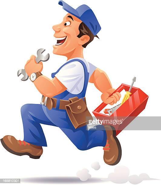 running mechanic - mechanic stock illustrations, clip art, cartoons, & icons