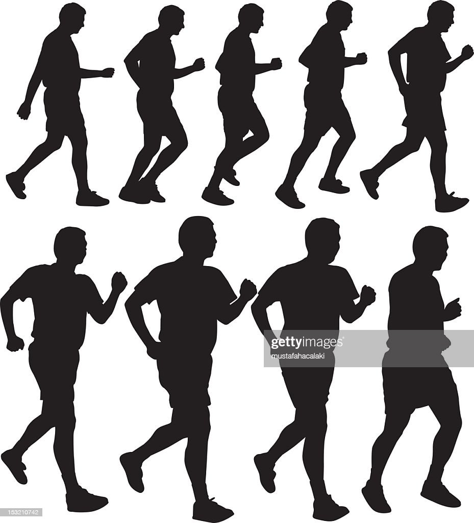Running men silhouettes : Vector Art