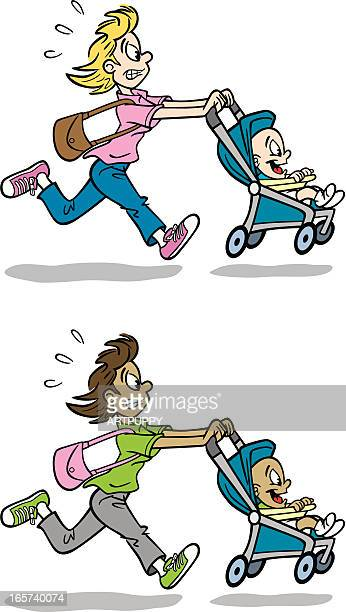 running mom - three wheeled pushchair stock illustrations, clip art, cartoons, & icons