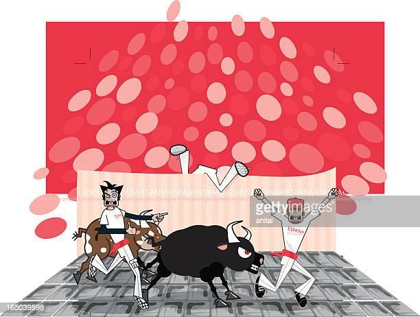 running of the fools (vector-yobs) - pamplona stock illustrations