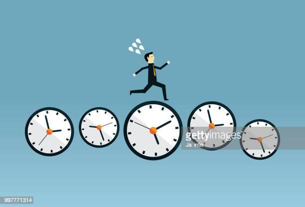 running on time - urgency stock illustrations