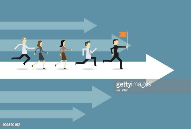 running people on arrow - practicing stock illustrations, clip art, cartoons, & icons