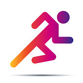 Running people simple symbol of run isolated on a white