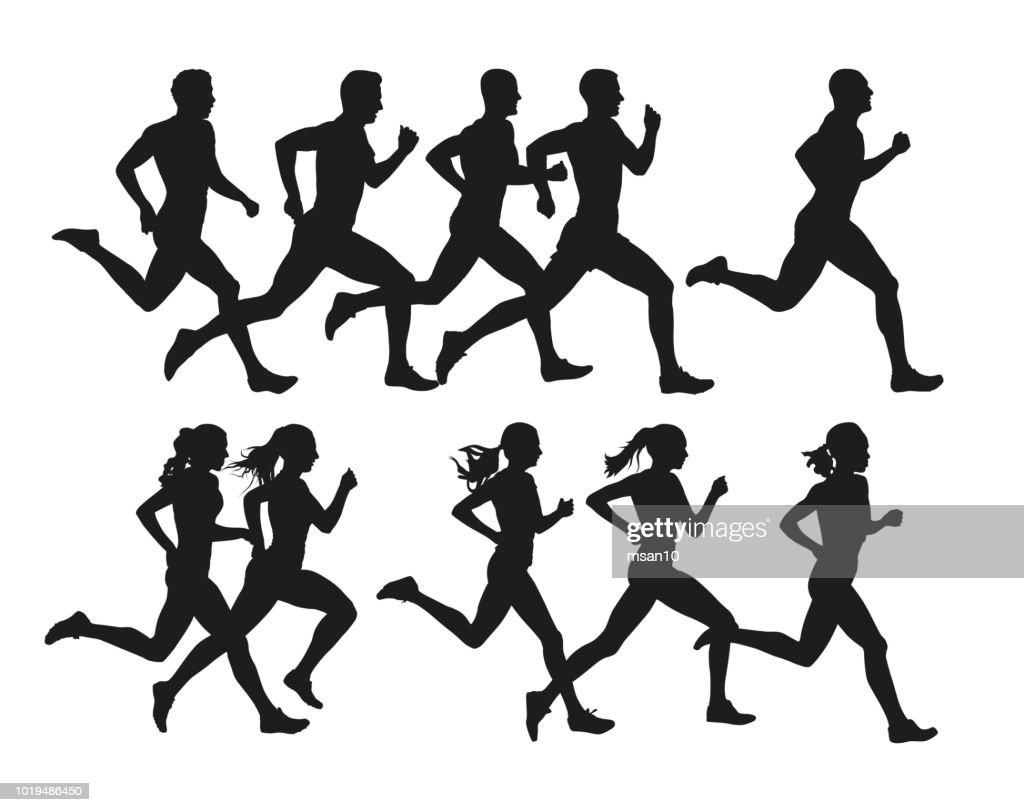 Running people, vector isolated silhouettes. Run, men and women