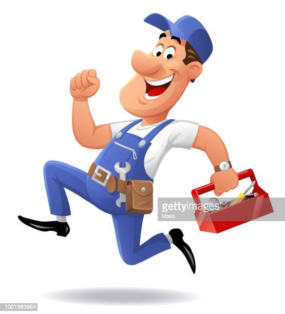 running repairman - carpentry stock illustrations