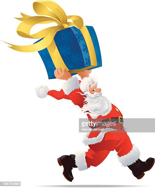 Running Santa Claus with Gift