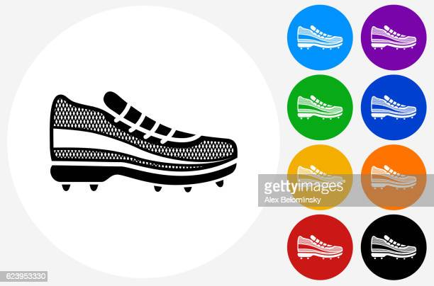 7774eedd Running Shoes Icon on Flat Color Circle Buttons. This 100% royalty free  vector illustration features the main icon pictured in black inside a white  circle.