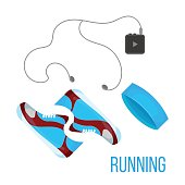 Running shoes, music player and head band icon