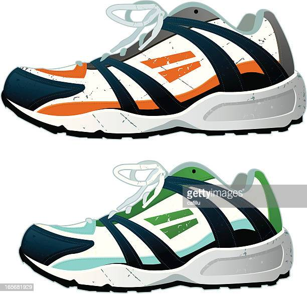 running shoes - 5000 meter stock illustrations