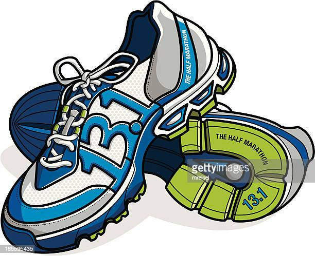 running shoes with 13.1 mile distance as stitching
