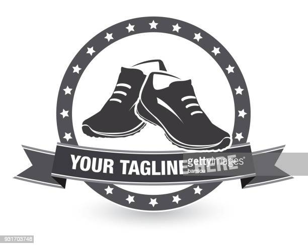 running shoes with tagline icon banner - track and field stock illustrations, clip art, cartoons, & icons