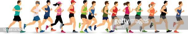 running silhouettes - jogging stock illustrations, clip art, cartoons, & icons