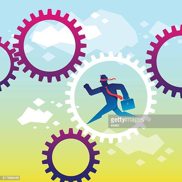 ilustraciones, imágenes clip art, dibujos animados e iconos de stock de funcionamiento del sistema - ojos tapados