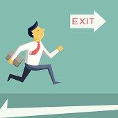 running to exit door