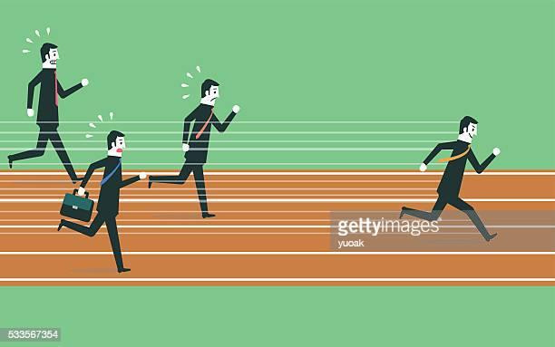 ilustraciones, imágenes clip art, dibujos animados e iconos de stock de corriendo hacia el éxito - pista de atletismo