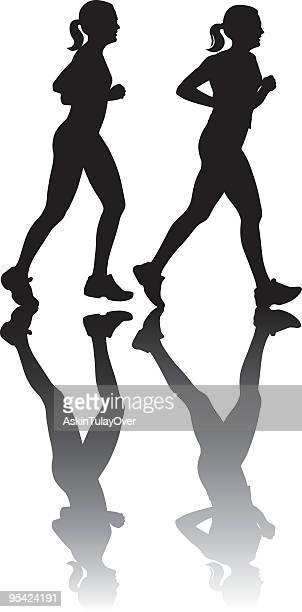 running - women's track stock illustrations, clip art, cartoons, & icons