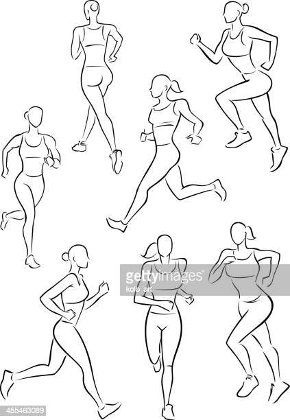 illustrations, cliparts, dessins animés et icônes de running femme jogging - fesses