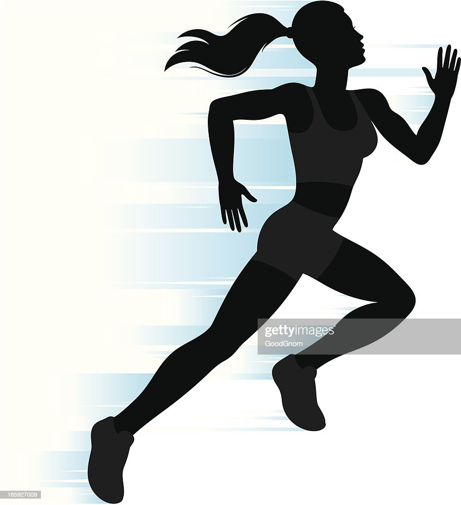 Running Woman Silhouette Vector Art | Getty Images