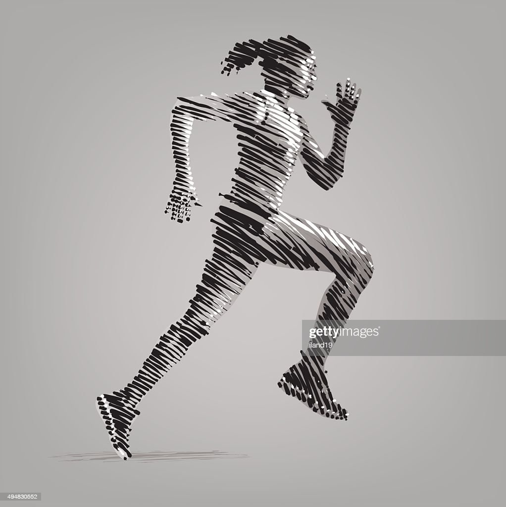 Running woman. Vector artwork in the style of ink drawing.