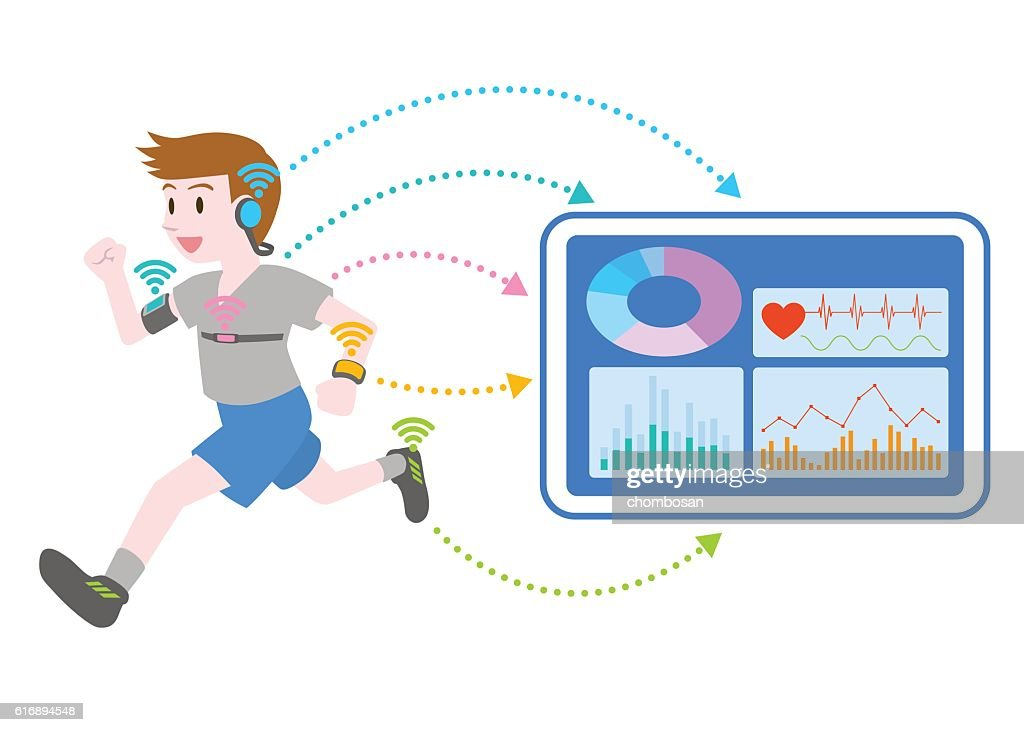 running young woman who wears various wearable devices