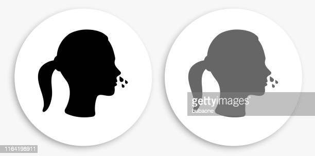 runny nose black and white round icon - blowing nose stock illustrations