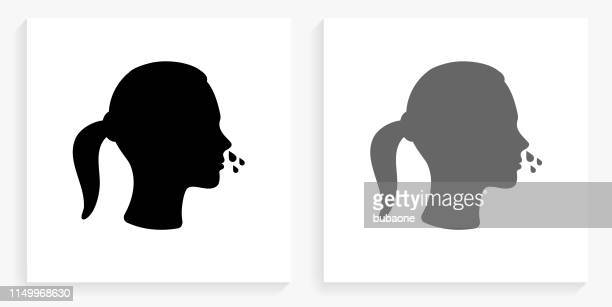 Runny Nose Black and White Square Icon