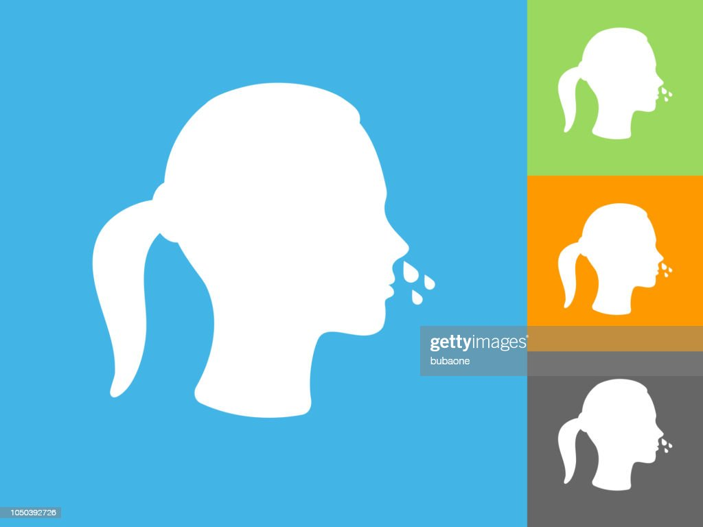 Runny Nose  Flat Icon on Blue Background : stock illustration
