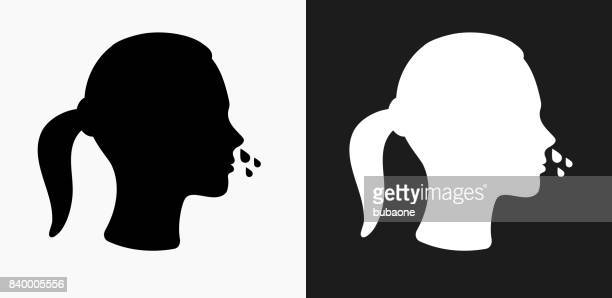 Runny Nose Icon on Black and White Vector Backgrounds