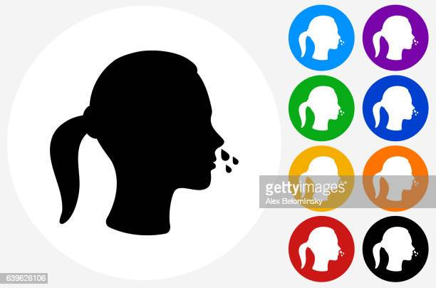 ilustraciones, imágenes clip art, dibujos animados e iconos de stock de runny nose icon on flat color circle buttons - blowing nose