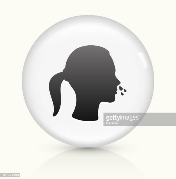 Nariz a pingar símbolo num botão de vetor arredondado branco