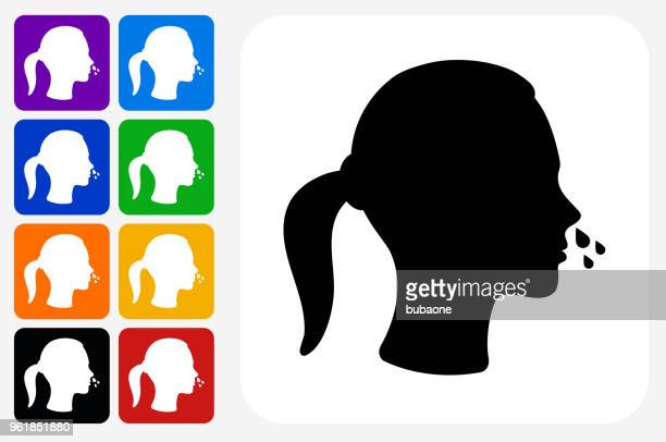 Runny Nose Icon Square Button Set