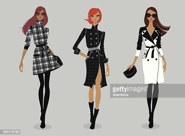 runway (trench coat) - model stock illustrations